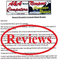 A&A Newport Shropshire Computer Repair Shrops Customer Letters, Reviews